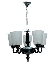 Black & Silver Mystique 5 Light Aluminium Chandelier