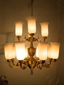 Jaisalmer 2 Tier 12 Lights Brass Chandelier With Milky White Glass Shades