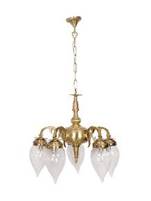 Brass Cast Arm 5 Light Downward Chandelier With Clear Water Droplet Glasses