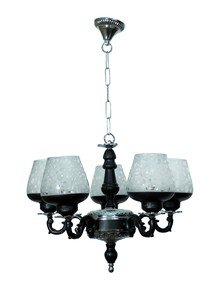 Black & Silver Gothic 5 Light Aluminium Chandelier