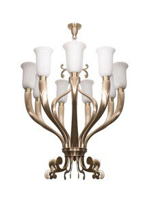 Fluted Horn Cast Brass 9 Light Chandelier