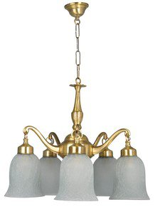 Classic Down Facing 5 Light Brass Chandelier