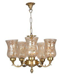 Brass Mini Chandelier With Luster Etched Glass