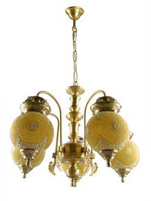 Chandni Gola 5 Lights Brass Chandelier