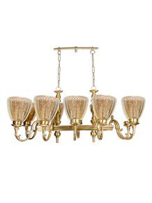 Unique Linear Cast Brass Rectangular 10 Light Chandelier