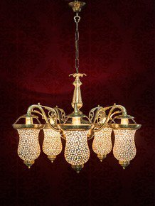 Captivating Five Light Brass Chandelier
