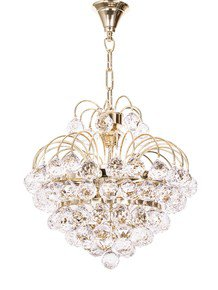 Golden Fountain Crystal Ball 3 Light Chandelier