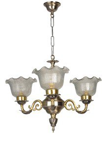 Dual Finish Crinkle Mini 3 Light Chandelier