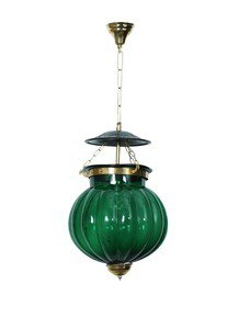 Goan Melon Handi Lantern Hanging Light - Green