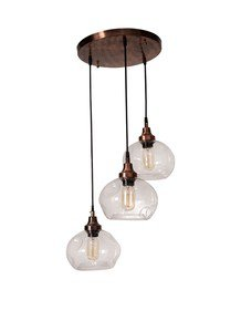 3 Drop Round Spot Glass Copper Pendant Light