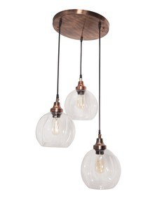 3 Drop Melon Glass Copper Pendant Light