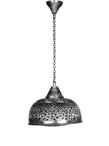 Hand Pierced Brass Dome Single Light Small Hanging - Silver