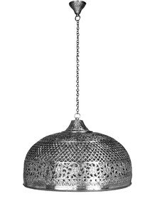 Hand Pierced Brass Doom Single Light Big Hanging - Silver