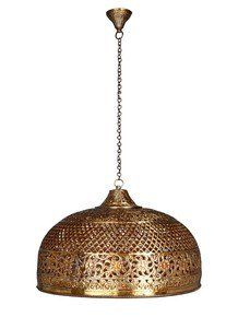 Hand Pierced Brass Doom Single Light Big Hanging - Gold