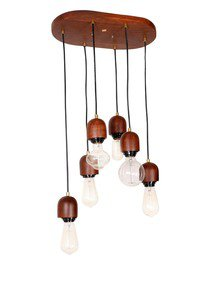 Modern Wooden 6 Light Hanging Lamp