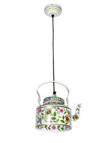 Hand Painted Tea Kettle Pendant Light