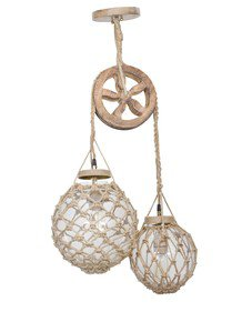 Coastal Glass Pulley Pendant Light