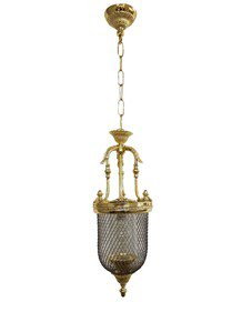 Lattice Portuguese Small Gold Jar Pendant Light