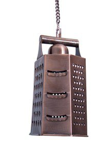 Cheese Grater 6 Sided Copper Finish Hanging Light