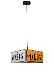 Licence Plate 1 Light Square Pendant Lamp