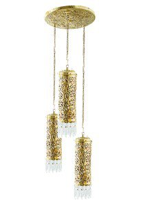 Hand Carved Brass & Crystal Mini Cylinder Set Of 3 Hanging Light
