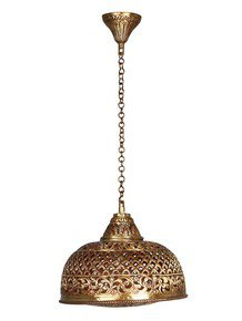 Hand Pierced Brass Dome Single Light Small Hanging - Gold