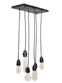 Black Vintage Set Of 6 Hanging Light