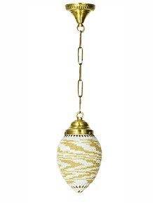 Small Mosaic Bead Oval Hanging Lantern Light