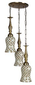 Triple Golden Moti Brass Hanging Ligh