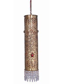 Hand Carved Brass & Crystal Cylinder Big Hanging Light