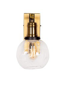 Fos Lighting Modern Industrial Chic Antique Brass & Glass Goble Wall Sonce
