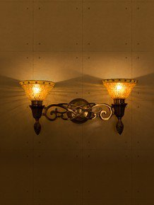 Sweeping Scroll Double Wall Sconce Lamp