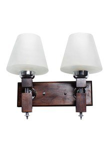 Martin Wood Tapered Glass Double Wall Light
