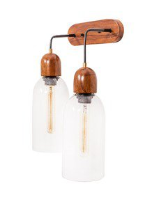 Modern Clear Glass & Wood Double Wall Light