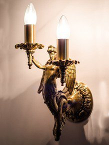 Mermaid Cast Brass Wall Sconce