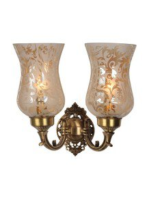 Brass Mini Double Wall Scone With Luster Etched Glass