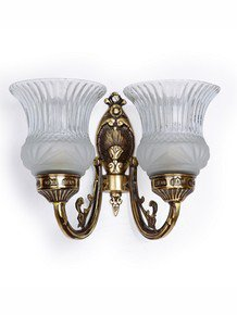 Usha Double Antique Brass Wall Light