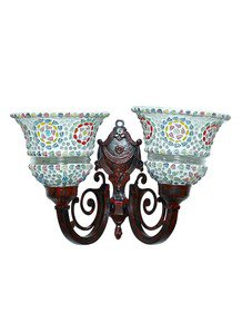 Taj Red Metal And Mosaic Glasses 2 Light Wall Sconce