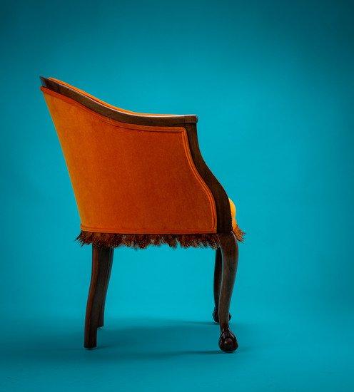 The antique guinea fowl feather 'fascinator' chair. rhubarbchairs treniq 1 1550013937496
