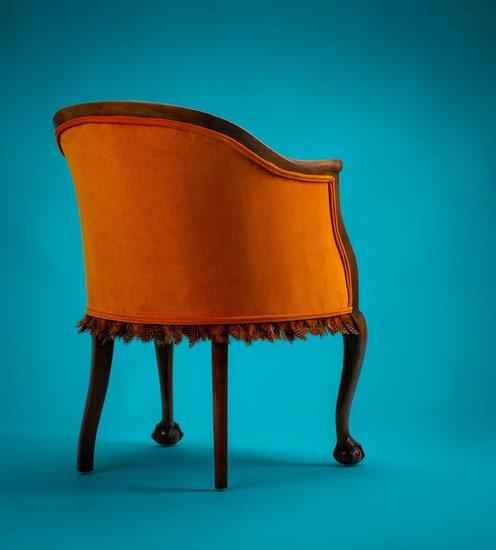 The antique guinea fowl feather 'fascinator' chair. rhubarbchairs treniq 1 1550013942334