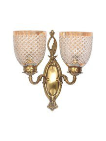 Brass Vine Double Wall Light In Diamond Cut Lustrous Glass