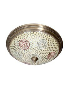 Dish Tilak Antique Brass 5 Light Flush Mount Ceiling Light