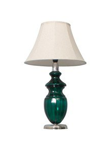 Emerald Cut Glass And Bell Shade Table Lamp