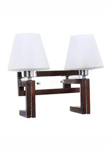 Straight Line Wood Bling Double Wall Light