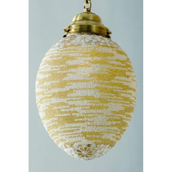 Big mosaic bead oval hanging lantern2