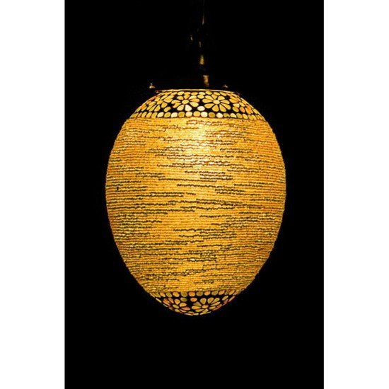 Big mosaic bead oval hanging lantern1