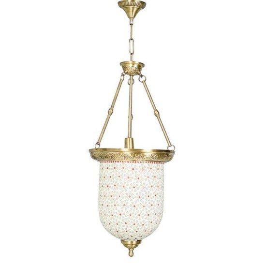 Brass multicolour glass bell jar hanging