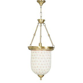 Brass Multicolour Glass Bell Jar Hanging