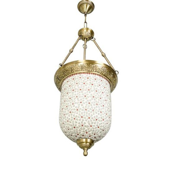 Brass multicolour glass bell jar hanging1
