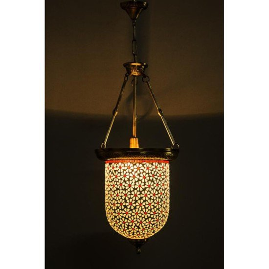 Brass multicolour glass bell jar hanging2